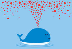 Whales spraying many heart out of their blowholes. Stock Images