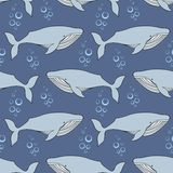 Whales. Vector seamless pattern in the style of the cartoon Stock Photos