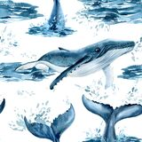 Whales watercolor, nature background, seamless pattern