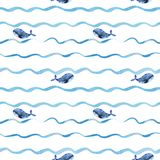 Whales on a wave pattern stock photography