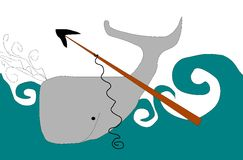 Whaling. Grey whale in water and a harpoon Royalty Free Stock Photography