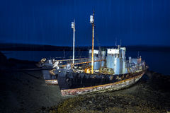 Whaling ships on beach Royalty Free Stock Images