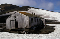 Whaling station ruins Antarctica. Ruins at Whalers Bay, Deception Island Antarctica as a result of a volcanic eruption royalty free stock photo