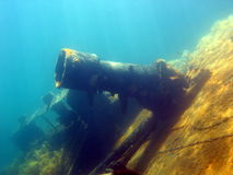 Whaling wreck. A view of the deck of the wreck of a whaling boat Royalty Free Stock Photo