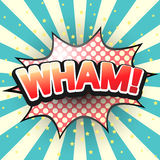 Wham, a bolha cômica do discurso Vetor Imagens de Stock Royalty Free