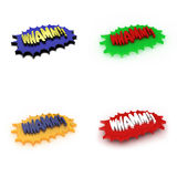 Whamm!. 3D Illustration of four comic style Whamm expressions Stock Illustration
