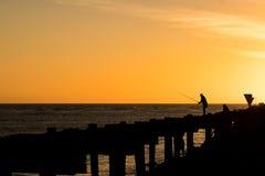 Whanganui Old Wharf Fishing Stock Photos