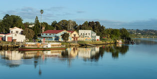 Whanganui Steam Boat Area. Beautiful morning on the Whanganui river shown it`s river boats Royalty Free Stock Photos