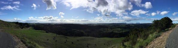 Whangarei, New Zealand. Countryside southwest of Whangarei.  Looking northeastward to Whangarei Heads and harbour Stock Photo