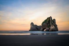 Wharariki海滩的,新西兰美好的地方 图库摄影