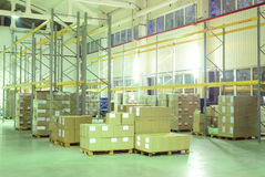 Wharehouse with boxes Stock Images