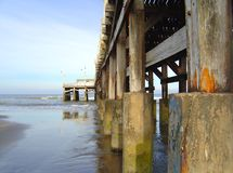 Wharf. Lateral and inferior perspective of a wharf at San Clemente del Tuyu, Argentina Royalty Free Stock Photos