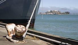 Wharf Moored Ship Hull Ocean Alcatraz Island Priso Stock Image
