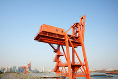 Wharf crane. With the blue sky.It's very suit for wallpaper Stock Photo