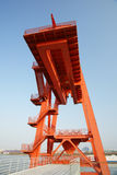 Wharf crane in vertical composition Royalty Free Stock Photography
