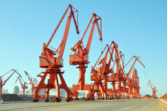 Wharf cranes. Mang cranes against blue sky,which taken in Qingdao Port China Royalty Free Stock Images