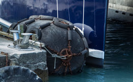 Wharf Fender. Or a ocean cushion to keep the boat form scrapping it side Royalty Free Stock Images