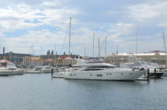 Wharf in Hobart Australia. Sullivans Cove and Yacht harbour in Hobart Stock Photos