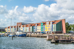 Wharf houses in Hellevoetsluis, Netherlands. Row of colourful wharf houses in the city of Hellevoetsluis, Netherlands stock photography
