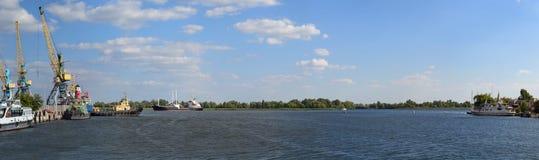 Wharf panorama Royalty Free Stock Photography