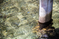 Wharf post. Immersed in shimmering water Royalty Free Stock Images