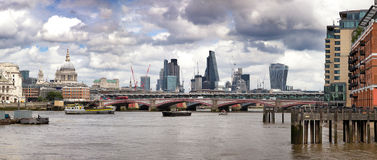 Wharf, St Paul`s and the City of London panorama Royalty Free Stock Photography