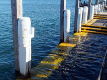 Wharf Submerged By High Tide. A small stepped wharf partly submerged by a very high tide Royalty Free Stock Photo
