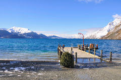The wharf in the Walter Peak Farm, Beach Bay Royalty Free Stock Images