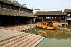 Wharf of watery town. Ancient wharf of Wuzhen watery town. Zhejiang. China royalty free stock image