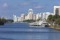 Wharf with yachts at the residentials of Miami Beach, Florida Royalty Free Stock Images