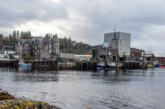 Wharfe and quayside in Lochinver, Scotland Stock Images