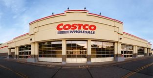 Panoramic view of Costco Wholesale store. WHARTON, NJ - MAY 20, 2018: Panoramic view of Costco Wholesale store at sunset. Costco Wholesale Corporation, a royalty free stock photos