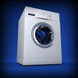 Whasing machine blue background Stock Image