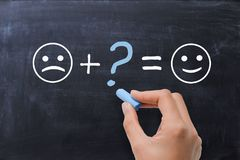 What's missing in life to be happy, with smiley faces on blackboard. What's missing in life to be happy, with smiley faces on chalkboard stock photos