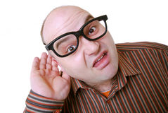 What?. Man with glasses is hard of hearing Royalty Free Stock Photos