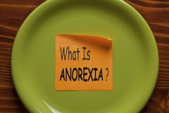 What is Anorexia Concept. What Is ANOREXIA written in sticky note on the green plate. Medical concept stock image