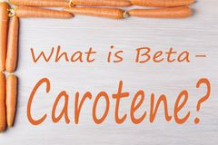 What is Beta Carotene. Frame of carrots with text `What is Beta Carotene?` on a wooden background, top view Stock Images