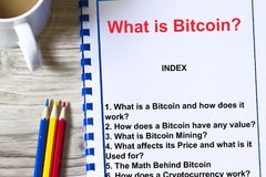 What is bitcoin all about concept. Provided with topics of a lecture Royalty Free Stock Images