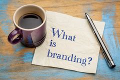 What is branding? Napkin concept. What is branding question - handwriting on a napkin with a cup of espresso coffee stock photography