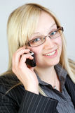 What can I do for you. Business Woman having a telephone call Stock Photo