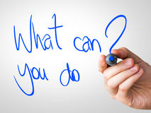 Free What Can You Do Hand Writing With A Blue Mark On A Transparent Board Stock Images - 46336874