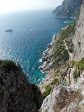 Capri blue excusive sea view. What is Carpi Blue for you? Maybe RAL 5019? Now for me it's the color of beautiful sea near Capri Island, Italy royalty free stock photos