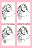 What Color should I highlight my hair coloring picture. Fashion and beauty coloring picture for deciding what color of hair dye to use vector illustration