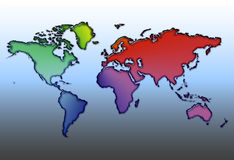 What a colourful world. World map in bright colours stock illustration