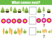 What comes next educational children game. Kids activity sheet, continue the row, logic puzzle. What comes next educational children game. Kids activity sheet Royalty Free Stock Photo