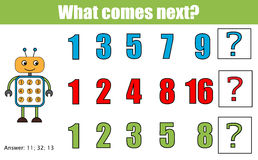 What comes next educational children game. Kids activity sheet, continue the row task. Mathematics game. What comes next educational children game. Kids activity Stock Photo