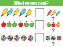 What comes next educational children game. Kids activity sheet, continue the row task. What comes next educational children game. Kids activity sheet, training Royalty Free Stock Photos
