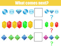 What comes next educational children game. Kids activity sheet, continue the row task. What comes next educational children game. Kids activity sheet, training Royalty Free Stock Photography