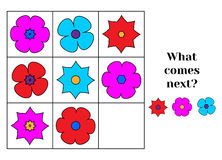 What comes next educational children game. Kids activity sheet, continue the row task Stock Images