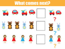 What comes next educational children game. Kids activity sheet, continue the row task Royalty Free Stock Photos